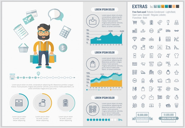 Zakupy płaski projekt infographic szablon i ikony ustawiać