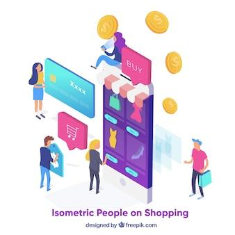 Zakupy pojęcie z ludźmi w isometric widoku