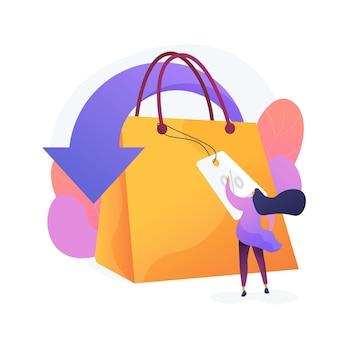 Zakupy rabaty i ulgi ikona kreskówka web. obniżka ceny sprzedaży, sprzedaż detaliczna, kreatywny marketing. oferta specjalna, pomysł na przyciągnięcie klienta. ilustracja wektorowa na białym tle koncepcja metafora