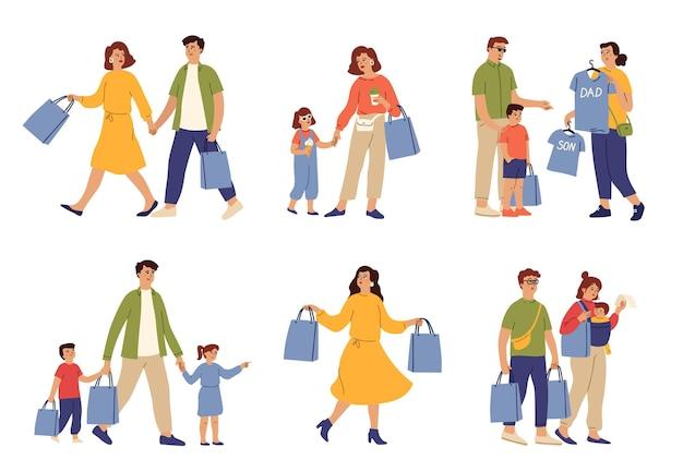Zakupy rodzinne. kobieta worek na jedzenie, para biegnąca do sklepu. mama nosi torby, rodzice kupują ubrania dzieciom. klienci w centrum handlowym wektor znaków. kobieta i mężczyzna, osoba kupujący ilustrują zakupy