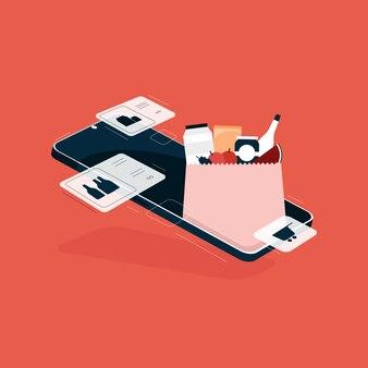 Zakupy spożywcze online w aplikacji mobilnej, papierowa torba pełna spożywczy, ekspresowa dostawa