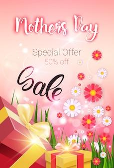 Zakupy sprzedaż szczęśliwy dzień matki zniżki, wiosna wakacje powitanie karta transparent