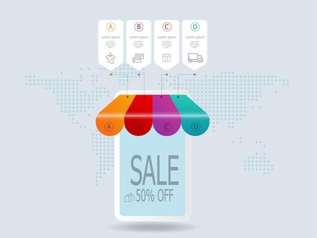 Zakupy w sklepie internetowym na infografikach mobilnych kroków