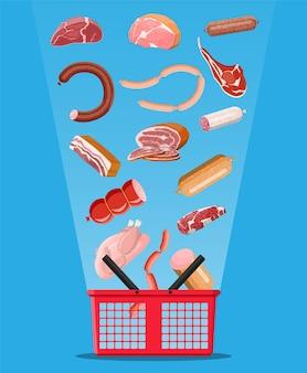 Zakupy w supermarkecie kosz pełen mięsa. kotlet, kiełbaski, boczek, szynka. marmurkowa wołowina. sklep mięsny, steki, produkty ekologiczne z farmy. żywność spożywcza. świeży stek wieprzowy. wektor ilustracja płaski styl