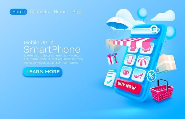 Zakupy wiadomości smartfon mobilny ekran technologia mobilny wektor wyświetlania