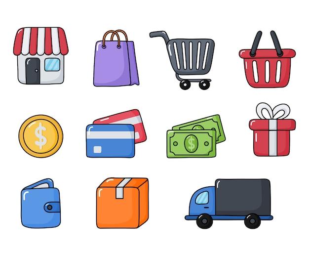 Zakupy zestaw ikon online na białym tle