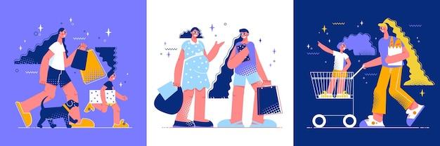 Zakupy zestaw trzech ilustracji kwadratowych