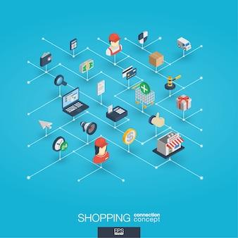 Zakupy zintegrowane ikony 3d sieci web. koncepcja izometryczna sieci cyfrowej.