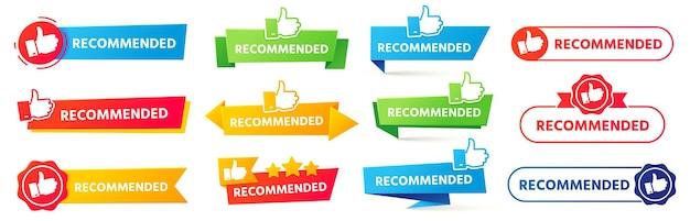 Zalecany baner. zestaw najlepszych odznak rekomendacji, tagu bestsellera i banerów z poradami dotyczącymi oceny tor.