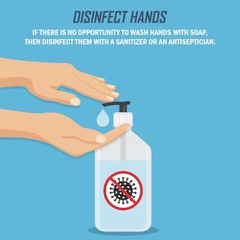 Zalecenie podczas pandemii koronawirusa. dezynfekuj ręce. ręce z środkiem dezynfekującym w płaskiej konstrukcji na niebieskim tle