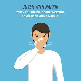 Zalecenie podczas pandemii koronawirusa. przykryj serwetką. mężczyzna kicha i przykrywa się serwetką w płaskiej konstrukcji na niebieskim tle