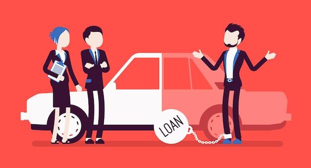 Zaległy kredyt samochodowy. niezadowolony klient i agenci, pożyczone pieniądze, które prawdopodobnie nie zostaną spłacone, duże obciążenie dla kredytu, problem i ciężar kryzysu finansowego. ilustracja z postaciami bez twarzy