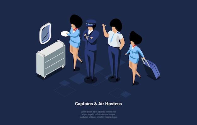 Załoga postaci kapitanów i stewardessy w samolocie. izometryczne ilustracja z ludźmi ubranymi w niebieski mundur w pracy