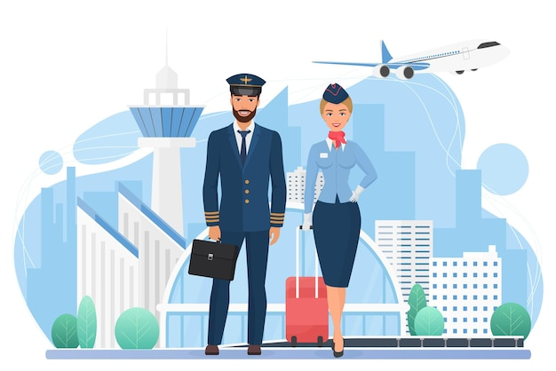 Załoga samolotu w nowoczesnej stewardesie lotniska i pilot z torbami podróżnymi stojącymi