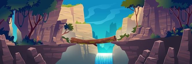 Zaloguj most między górami nad klifem w krajobrazie szczytów skalnych z wodospadem i drzewami w tle. piękne krajobrazy widok przyrody, mostek wiązki łączą skaliste krawędzie, ilustracja kreskówka wektor