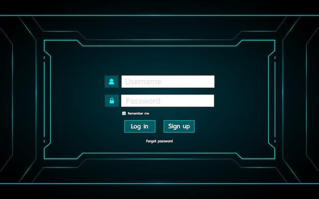 Zaloguj się do projektu interfejsu użytkownika na technologii hud futurystyczny interfejs tła.