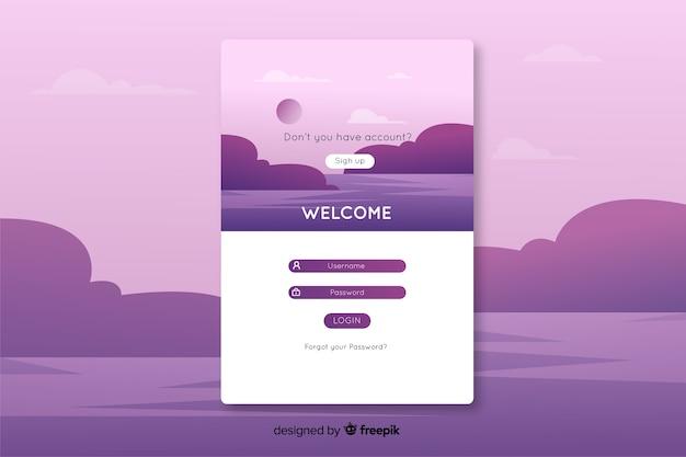 Zaloguj się do strony docelowej z fioletowym krajobrazem