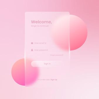 Zaloguj się koncepcja projektowania glassmorphism strony dla szablonu ekranu ui ux gui