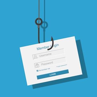 Zaloguj się na konto i hak wędkarski.