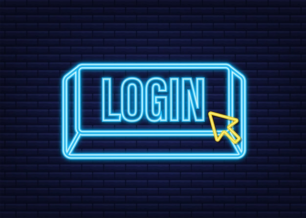 Zaloguj sie. neonowa ikona. baner internetowy. strzałka, ikona kursora. ikona strzałki wektor. kliknij ręcznie wektor ilustracji.