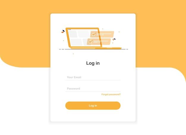 Zaloguj się szablon interfejsu użytkownika z laptopem