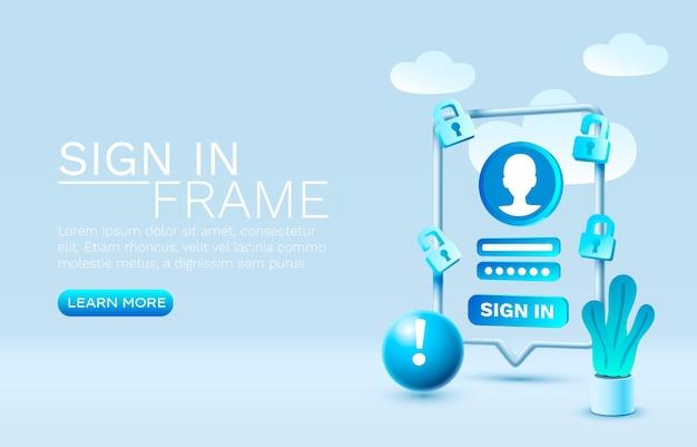 Zaloguj się w technologii mobilnego ekranu smartfona mobilny wektor wyświetlania