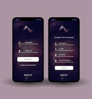 Zaloguj się zarejestruj ekran aplikacji