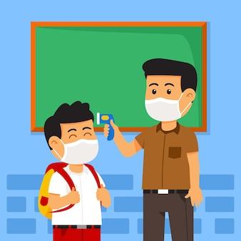 Załóż maskę i sprawdź ciepłotę ciała przed wejściem do klasy, aby zapobiec zarażeniu grypą.