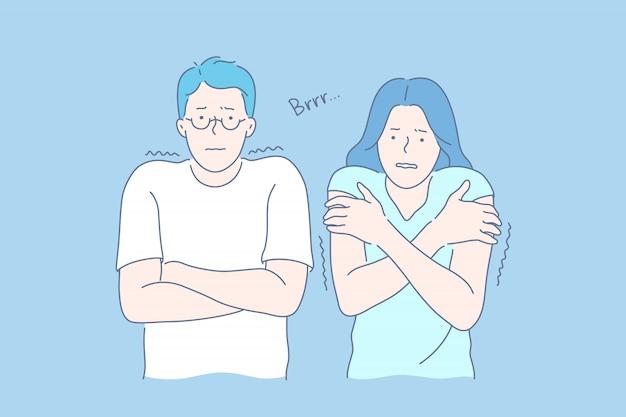 Zamarznięci ludzie przytulający się, dyskomfort, koncepcja negatywnych emocji