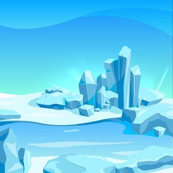 Zamarznięty krajobraz z lodowymi skałami. ilustracja wektorowa kreskówka tło