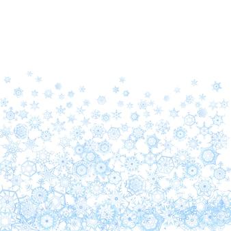 Zamarznięty wzór z płatkami śniegu na bielu