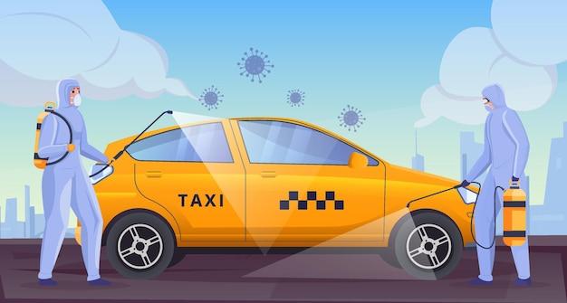 Zamaskowani ludzie dezynfekują płaską ilustrację samochodu żółtej taksówki