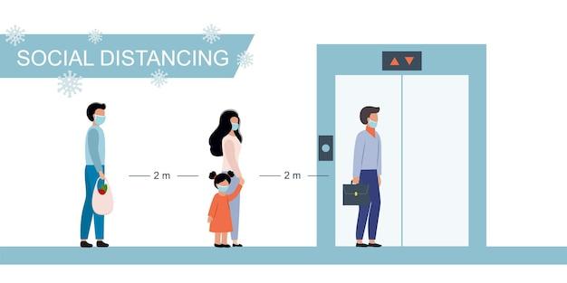 Zamaskowani ludzie stoją w pobliżu windy i obserwują dystanse społeczne. środki ostrożności przeciwko rozprzestrzenianiu się wirusa covid-19. płaski charakter wektor.