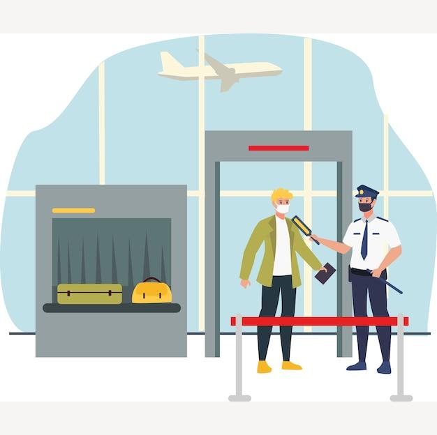 Zamaskowany oficer ochrony sprawdzający temperaturę ciała pasażera przy bramce lotniska podczas nowej normalnej ilustracji