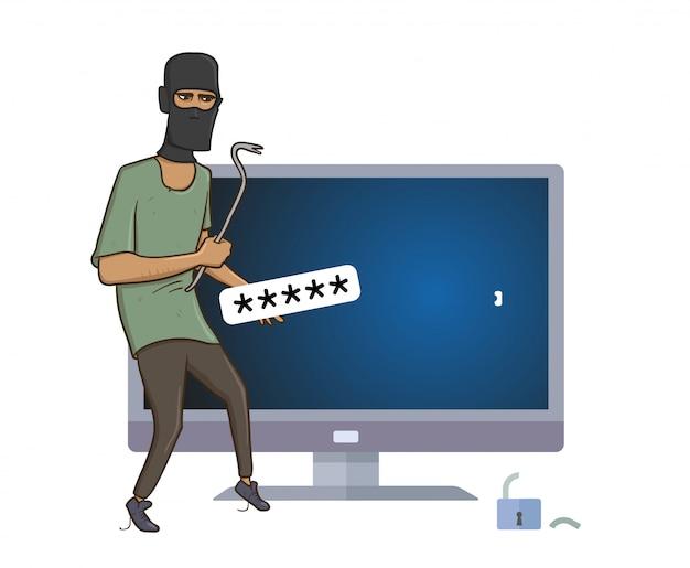 Zamaskowany złodziej z pullerem włamuje się do komputera.