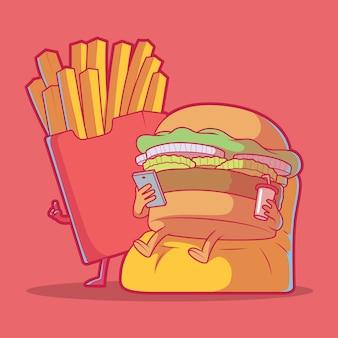Zamawiając jedzenie burger i frytki. fast food.