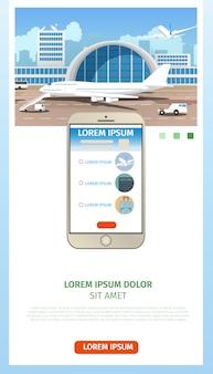 Zamawianie biletów lotniczych strona internetowa cartoon wektor