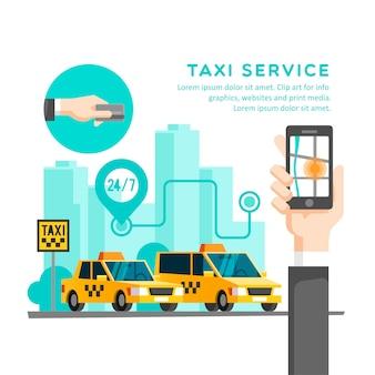 Zamawianie i udostępnianie taksówki online za pomocą ilustracji aplikacji mobilnej usługi