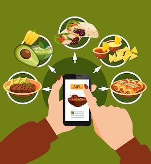 Zamawianie meksykańskiej żywności ilustracji