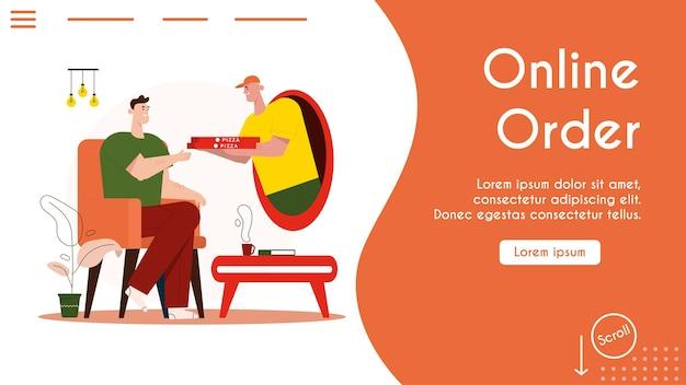 Zamawianie online i dostawa fast foodów do domu. kurier dostarcza klientowi pizzę. szczęśliwy facet otrzymuje zamówienie, zakupy online, dostawę z restauracji, biznes e-commerce