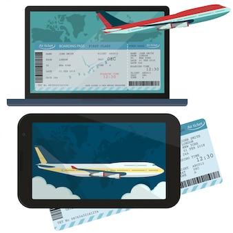 Zamawianie online i rezerwacja biletów lotniczych.