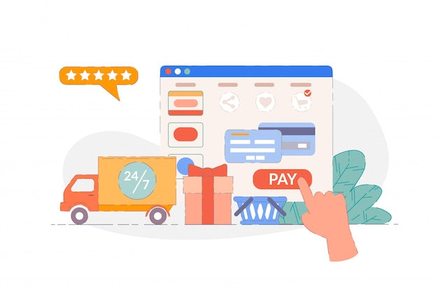 Zamawianie online. interfejs internetowy do zamawiania i płatności sklepu internetowego. strona usługi zakupów z dostawą całodobową. nowoczesna koncepcja szybkiego kupowania i handlu