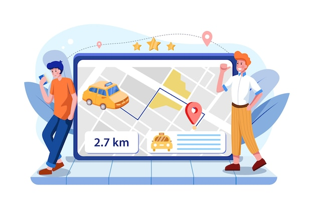 Zamawianie online koncepcji taksówki