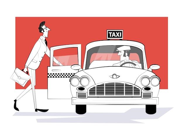 Zamawianie taksówki. mężczyzna wsiada do samochodu retro taxi. biznesmen pędzi na spotkanie.
