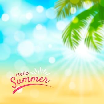 Zamazany obraz z napisem witaj lato