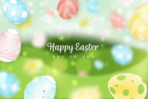 Zamazany stylowy szczęśliwy wielkanocny dzień z kolorowymi jajkami