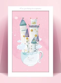 Zamek akwarela malarstwo panorama w pastelowych kolorach ilustracja romantyczny świat marzeń