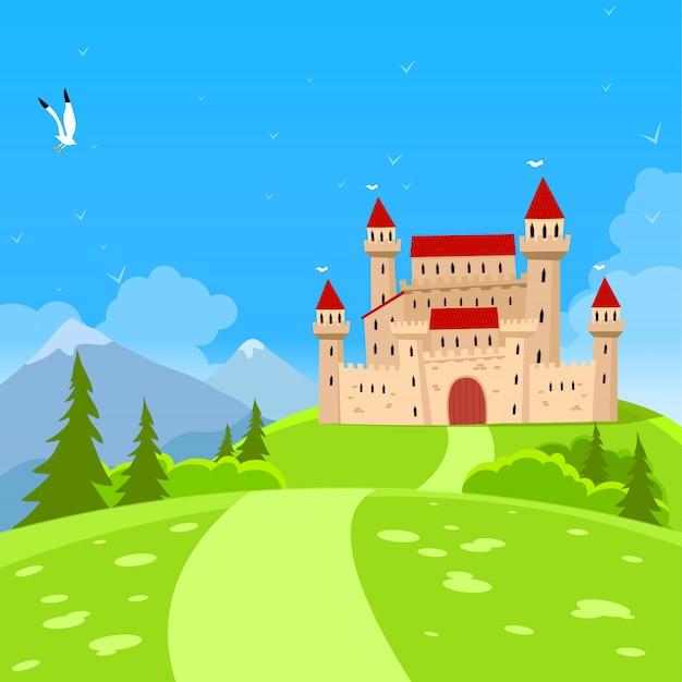 Zamek bajki i krajobraz przyrody.