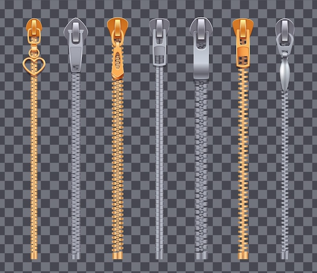 Zamek błyskawiczny realistyczny zestaw zamków błyskawicznych w kolorze srebrnym i złotym
