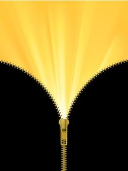Zamek błyskawiczny w połowie otwarty z żółtymi promieniami